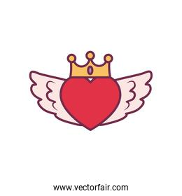 Isolated heart with wings and crown line and fill style icon vector design