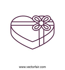 heart gift with bowtie line style icon