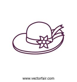 Isolated female hat with flower line style icon vector design