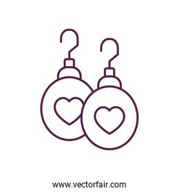 Isolated hearts earrings line style icon vector design