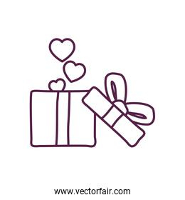 hearts inside gift with bowtie line style icon vector design