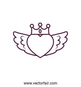 Isolated heart with wings and crown line style icon vector design