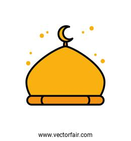 Ramadan mosque line and fill style icon vector design