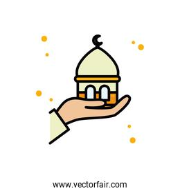 Ramadan mosque over hand line and fill style icon vector design