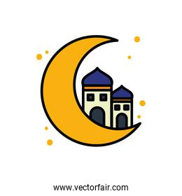 Ramadan mosque and moon line and fill style icon vector design