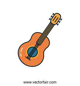 guitar instrument line and fill style icon vector design