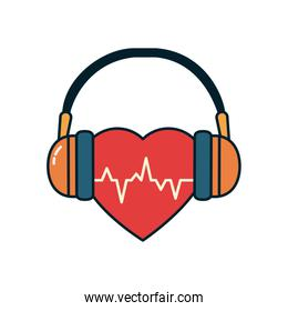 heart beat with headphones line and fill style icon vector design