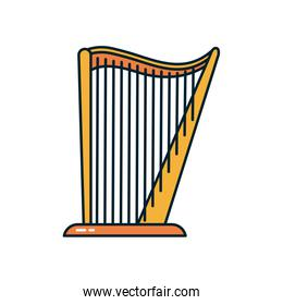 harp instrument line and fill style icon vector design