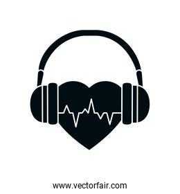 heart beat with headphones silhouette style icon vector design