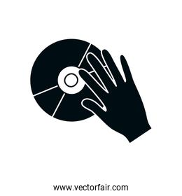 hand with music cd silhouette style icon vector design