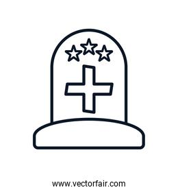 grave with cross and stars line style icon vector design