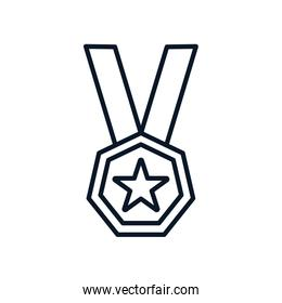 Isolated star medal line style icon vector design