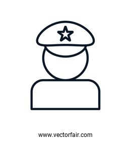 Isolated policeman avatar line style icon vector design