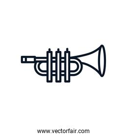 Isolated trumpet instrument line style icon vector design
