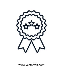 Isolated seal stamp with stars and ribbon line style icon vector design