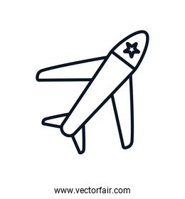 Isolated airplane line style icon vector design