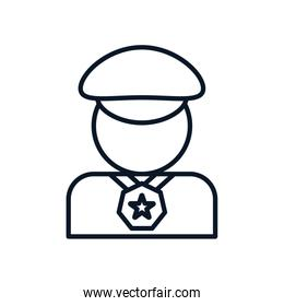Isolated policeman avatar with medal line style icon vector design