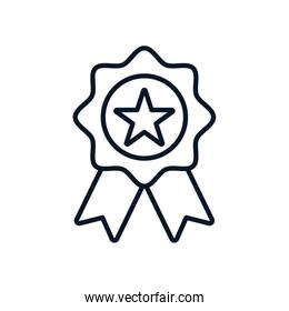 Isolated seal stamp with star and ribbon line style icon vector design