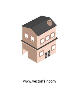 house with garage and chimney building isometric style