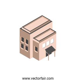 commercial building structure isometric style
