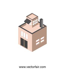 commercial chimney terrace building isometric style