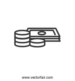 stacked banknotes and coins finance bank money icon thick line