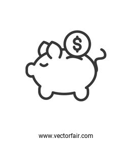 piggy bank coin finance bank money icon thick line