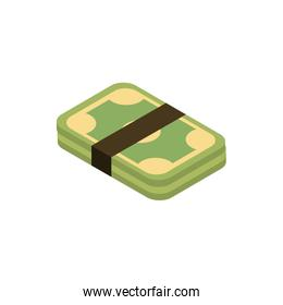 stacked money online shopping isometric icon