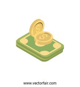 money banknote and coins online shopping isometric icon