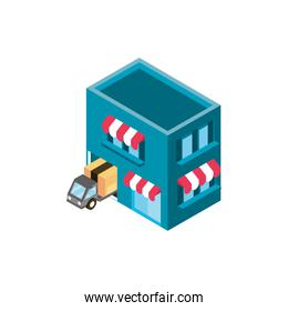 market place truck online shopping isometric icon