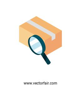 cardboard box searching online shopping isometric icon