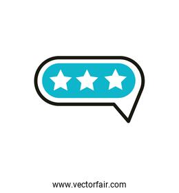 speech bubble with stars line and fill icon