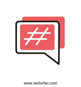 hashtag speech bubble social media icon line and fill