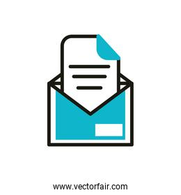 email letter social media icon line and fill