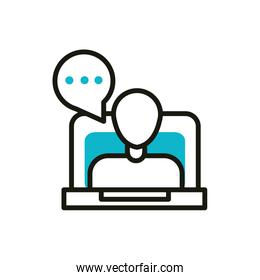 laptop video chat blog social media icon line and fill