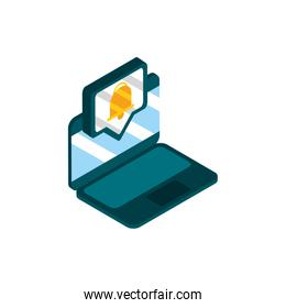 laptop message notification social media isometric icon