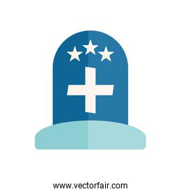 grave with cross and stars flat style icon vector design