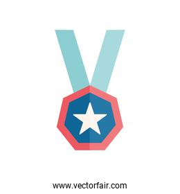 Isolated star medal flat style icon vector design