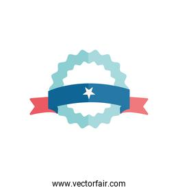 Isolated seal stamp with star and ribbon flat style icon vector design