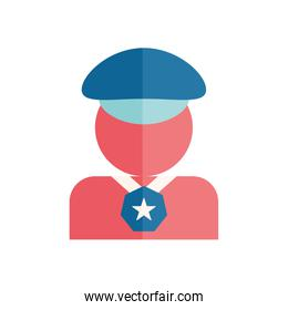 Isolated policeman avatar with medal flat style icon vector design
