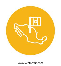Mexican map with flag block style icon vector design
