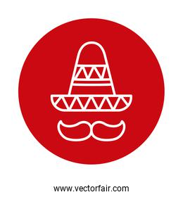 Mexican hat with mustache block style icon vector design