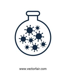 flask with covid 19 virus icon, line style