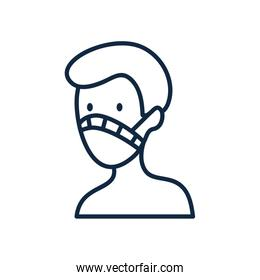man with mouth mask icon, line style