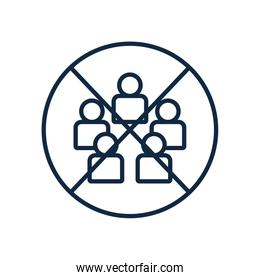 forbidden sign of many people icon, line style