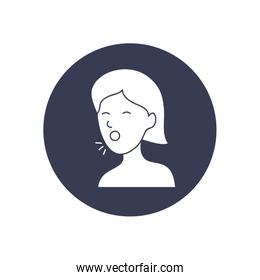 covid 19 concept of woman coughing icon, symbol style
