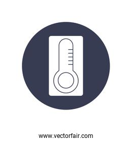 thermometer icon, block style