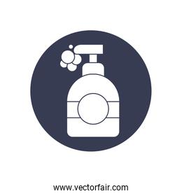 hand soap bottle icon, block style