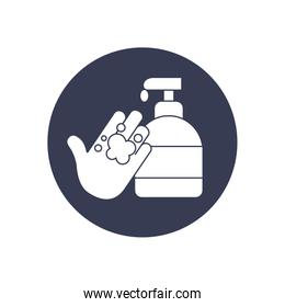 handwashing concept of soap bottle and hand icon, block style