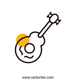 Isolated guitar instrument half line half color style icon vector design